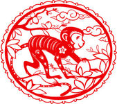 Monkey Chinese folk paper cutting Symbol of 2016 New Year