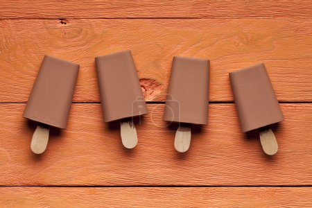 Chocolate flavoured ice lollies