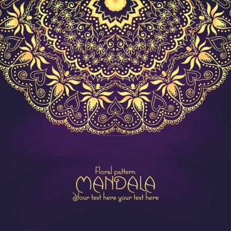 Golden mandala pattern design template