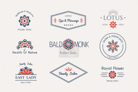 Illustration for Asian health and beauty logo templates set. Vector ethnic ornamental design for beauty salons, spa, massage, barber shops, saunas, healthcare and medicine - Royalty Free Image