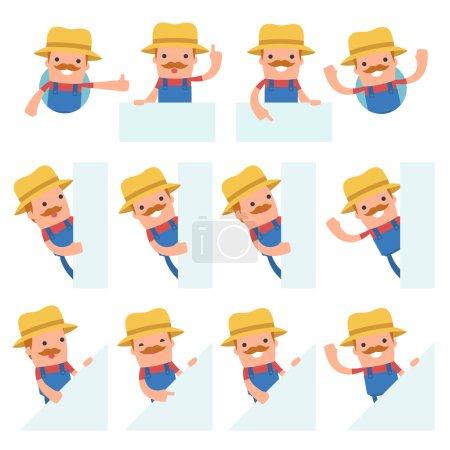 Illustration pour Ensemble de personnage drôle et gai agriculteur tient et interagit avec des formes vierges ou des objets à utiliser dans les présentations, etc. . - image libre de droit