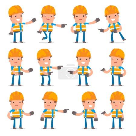 Illustration pour Jeu de Constructeur de Caractère Actif et Positif faisant des poses de présentation pour une utilisation dans la conception, etc. . - image libre de droit