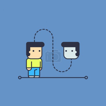 Self talk. Conceptual illustration. line art style...