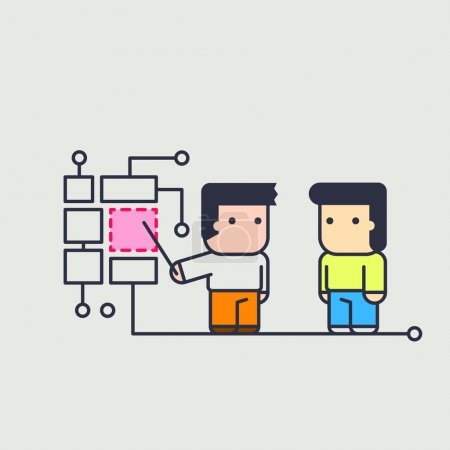Character instructing assistant. Conceptual illust...