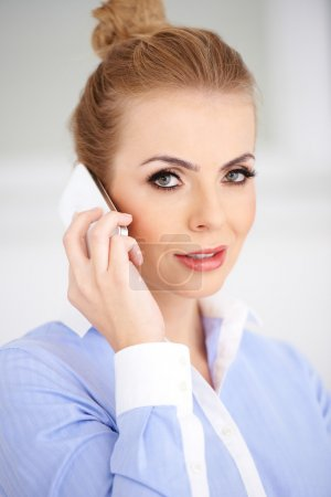 Close up Blond Woman Calling Using Phone
