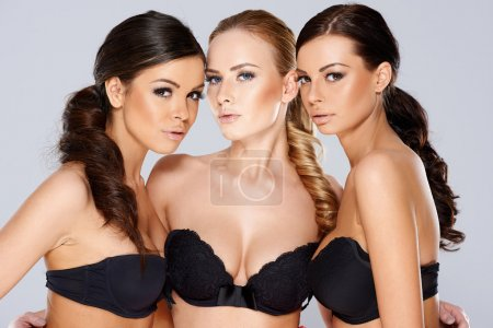 Gorgeous Young Women in Sexy Black Strapless Bras