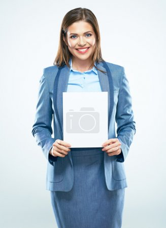 Smiling business woman with blank board