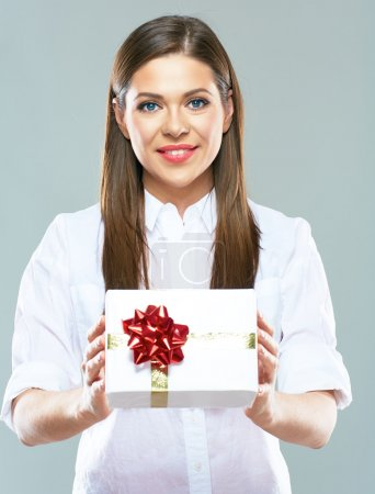 Business woman holding gift box