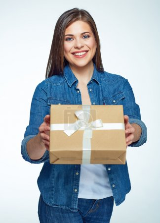 Photo for Beautiful smiling woman with long hair holding gift box. White background - Royalty Free Image
