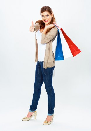 Fashion model with shopping bag