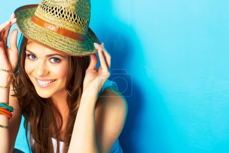 Girl hipster on blue background