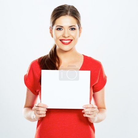 Young woman holding sign card