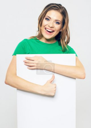 Woman with board and thumb up