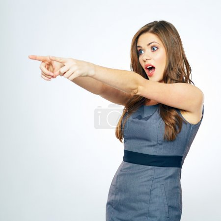 Businesswoman pointing fingers