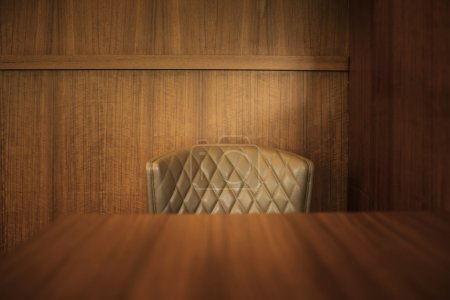 Photo for Classical wooden dining table and leather dining chair - Royalty Free Image