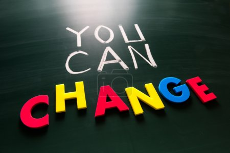 Photo for You can change concept, colorful words on blackboard - Royalty Free Image