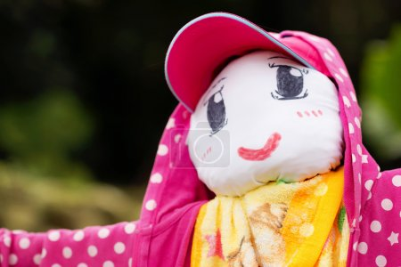 Photo pour Un mignon épouvantail porte une veste rose et un chapeau - image libre de droit