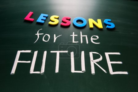 Photo for Lessons for future concept, colorful words on blackboard - Royalty Free Image