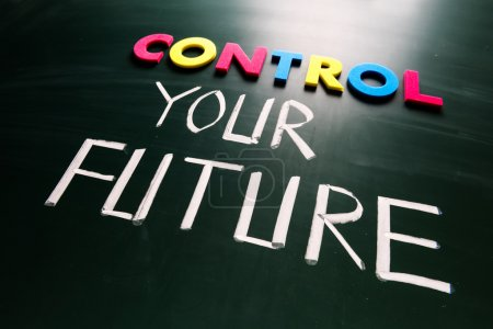 Photo for Control your future concept, colorful words on blackboard - Royalty Free Image