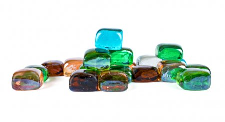 Transparent colored glass cubes isolated on white ...