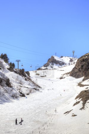 Ski track on glade Azau