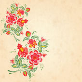 Old paper texture with flowers in the style of Petrykivsky Paint