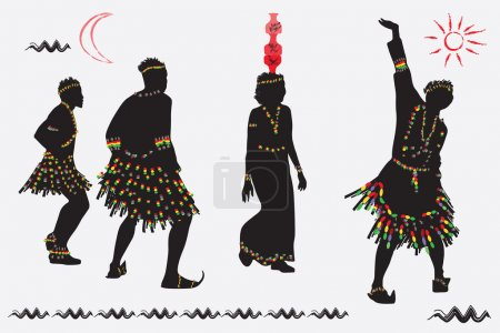 African folk dance. Young men and women dancing against the back