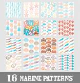 Elegant marine seamless patterns with decorative sea life representatives design elements Can be used for invitations greeting cards scrapbooking print gift wrap manufacturing Summer theme