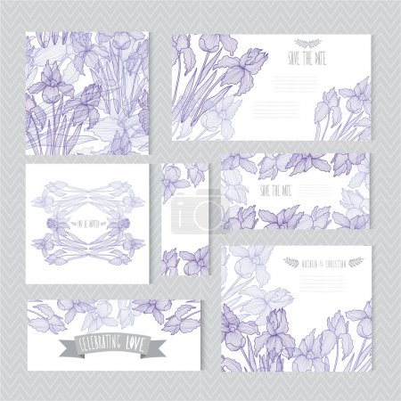 Illustration for Elegant cards with decorative iris flowers, design elements. Can be used for wedding, baby shower, mothers day, valentines day, birthday cards, invitations, greetings. Vintage decorative flowers. - Royalty Free Image