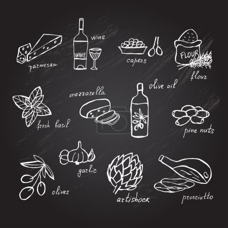 Illustration for Hand drawn principal italian food ingredients, design elements. Can be used for cards, invitations, gift wrap, print, scrapbooking. Kitchen theme. Chalkboard background - Royalty Free Image