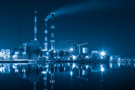 Photo for Heat and power plant at night - industry concept. - Royalty Free Image