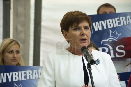 SWIDNIK, POLAND - AUGUST 21, 2015: Beata Szydlo during parliamen