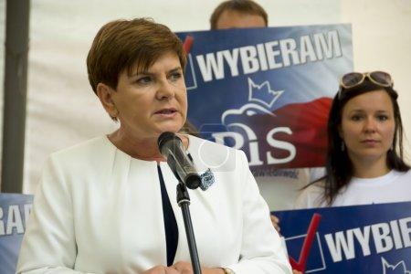 SWIDNIK, POLAND - AUGUST 21, 2015: Beata Szydlo during parliamen