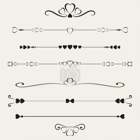 Set of valentine elements, vector