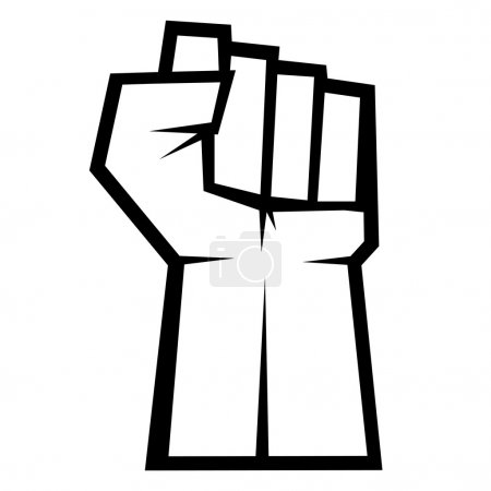 Revolution concept. Fist up isolated on white background, vector