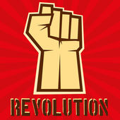 Concept of revolution Hund up on red background vector