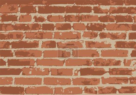 Illustration pour Vieux mur de briques vintage. Contexte, modèle. Illustration vectorielle - image libre de droit