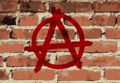 Anarchy sign on brick wall texture vector