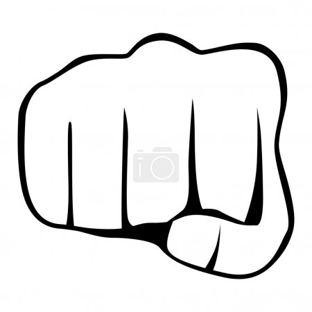 Fist isolated on white background, vector