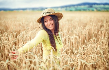 Photo for Portrait of rural girl on wheat field - Royalty Free Image
