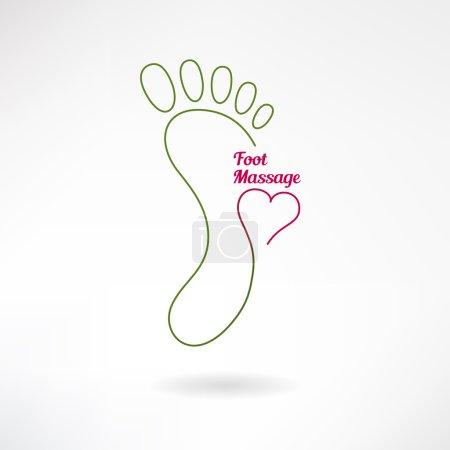 Illustration pour Signe de massage des pieds et logo du pied avec coeur. Isolé sur fond blanc. Illustration vectorielle - image libre de droit