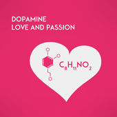 Love chemistry passion concept. Dopamine. Vector