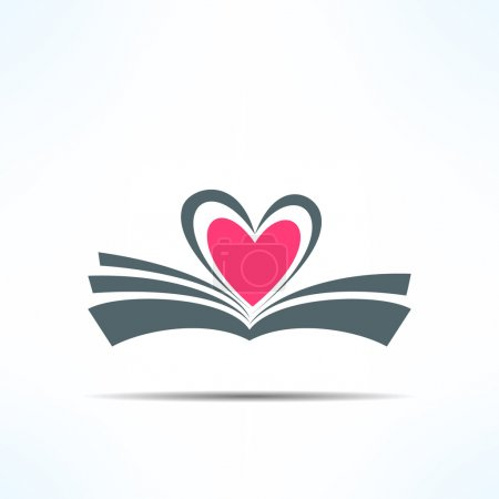Illustration for Vector book icon with heart made of pages. Love reading concept - Royalty Free Image