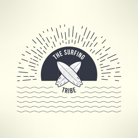 Vector surfing background with sun and waves. T-shirt surfboard graphic design. Inspirational sports background