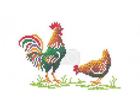 Rooster and hen.
