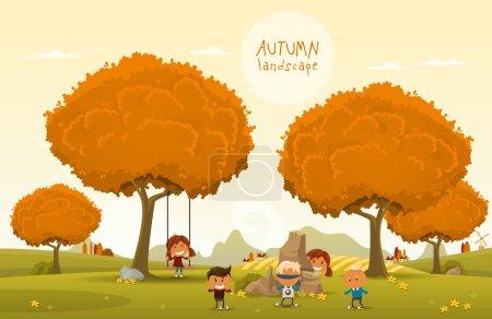 Illustration pour Enfants joyeux jouent à l'extérieur dans le parc d'automne - image libre de droit