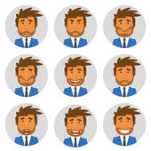 Vector illustration of businessman avatars showing different emotions