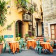 Street cafe in the beautiful town Taormina, Sicily...