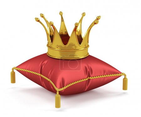 3d render of golden king crown on the red pillow...