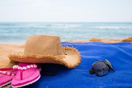 Beach accessories on a sea beach